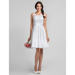 Lanting Knee-Length Lace Bridesmaid Dress- White Plus Sizes/Petite A-Line Scoop