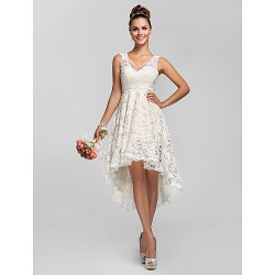 Cocktail Party/Prom/Homecoming/Wedding Party Dress- Ivory Plus Sizes/Petite A-Line/Princess V-Neck Asymmetrical Lace