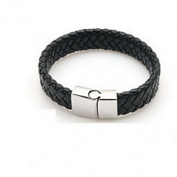 Braided PU Leather Bracelets With Stainless Steel Charm Fashionable Design Bangles For Men