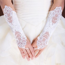 Elbow Length Fingerless Glove Elastic Satin Bridal Gloves/Party/ Evening Gloves