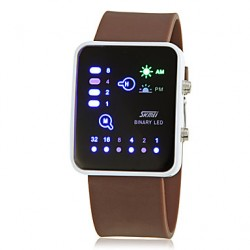 Men & #039;S Creative Binary Display Led Digital Silicone Band Wrist Watch (Assorted Colors)