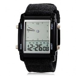 Men & #039;S Digital Colorful Led Light Casual Fabric Band Quartz Wrist Watch (Assorted Colors)