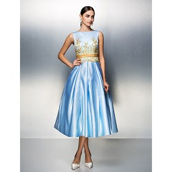 Company Party/Family Gathering Dress- Sky Blue Plus Sizes/Petite Ball Gown Bateau Tea-Length Satin