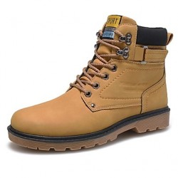 Men & #039;S Shoes Casual Faux Leather Boots Black/Yellow