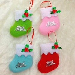 10 cm Christmas Socks For Christmas Party Decoration 6Pcs(Random Colour)