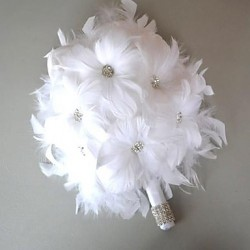 Beautiful Sweet Day White Feather Bridal Wedding Bouquet Fp-501