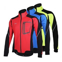 Arsuxeo Men & #039;S Cycling Jacket Fleece Warm Winter Thermal Bicycle Windproof Jacket