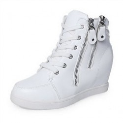 Women & #039;S Shoes Leatherette Wedge Heel Round Toe/Comfort Fashion Sneakers Casual Black/White
