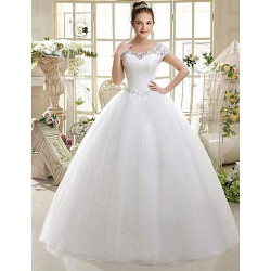 A-Line Wedding Dress- Ivory Floor-Length Scoop Lace