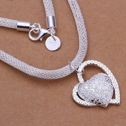 925 Silver Net Chain Double Heart Pendant Necklace (1 Pc)