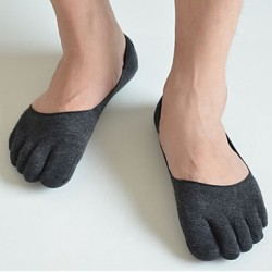 Men & #039;S Pure Color Toe Cotton Five Fingers Socks