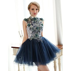 Cocktail Party Dress- Ink Blue Plus Sizes A-Line High Neck Short/Mini Lace/Tulle