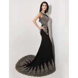 Formal Evening Dress- Black Plus Sizes/Petite Trumpet/Mermaid Scoop Sweep/Brush Train Spandex