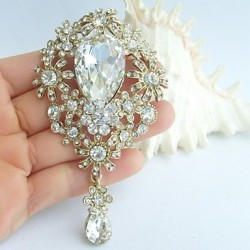 Bridal Accessories Gold-Tone Clear Rhinestone Bridal Brooch Wedding Deco Bridal Bouquet Crystal Wedding Brooch