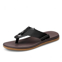 Men & #039;S Shoes Casual Leather Slippers Black/Brown