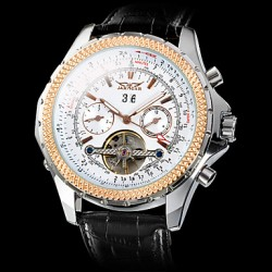Jaragar Men & #039;S Auto-Mechanical Watch Tourbillon Calendar White Dial Black Leather Band
