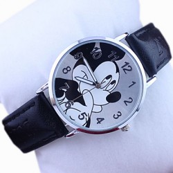 Children & #039;S Disney Mickey Pattern PU Band Cute Cartoon Analog Wrist Watch