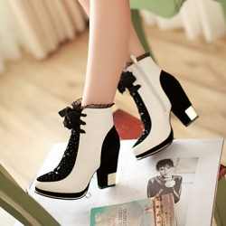 Women & #039;S Shoes Chunky Heel Fashion Boots/Round Toe Boots Dress Black/White