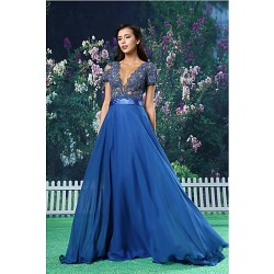 Formal Evening Dress- Royal Blue A-Line Jewel Floor-Length Chiffon/Lace/Satin