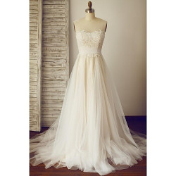 A-Line Wedding Dress- Champagne Sweep/Brush Train Scoop Lace/Tulle