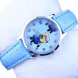 Children & #039;S Minions Pattern Dial PU Band Quartz Cute Cartoon Wrist Watch