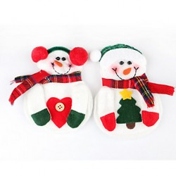 2Pcs Snowman Christmas Xmas Silverware Tableware Dinner Party Decor Cutlery Holder(Random Color)