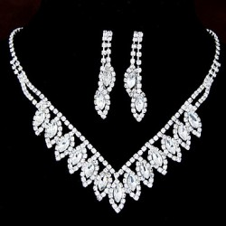 European Style Fashion Shiny Rhinestone Bridal Necklace Earring Sets