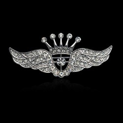 Fashion Inlay Diamond Crown Wing Brooch