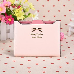 2017 Sweet And Intellectual Style Small Butterfly Knot Short Horizontal Slim Candy Color Ms Card Wallet Card Package