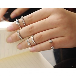 Alloy Golden Plated Star Heart Rhineston Adjustable Ring Set Midi Rings(Set Of 6)