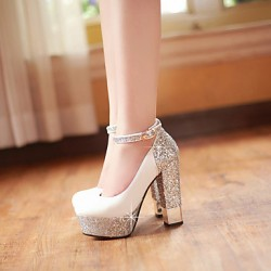 Women & #039;S Shoes Leatherette Chunky Heel Heels/Platform Heels Wedding/Party & Evening/Dress Black/White