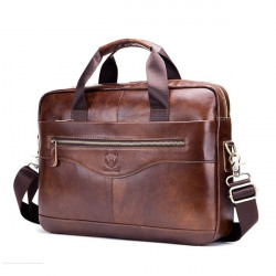 100% Genuine Leather Men Genuine Leather Business Vintage Laptop Bag Briefcase Handbag Travel Shoulder Bag Messenger Bag Briefcases Sac de messager Kuriertasche