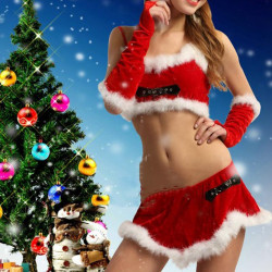 Women Christmas Santa Dress Red Velvet Outfits