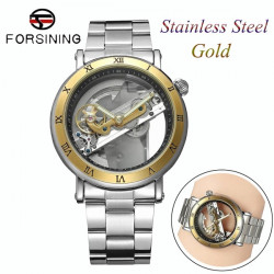 FORSINING Automatic Mechanical Watch Dial Luxury Skeleton Mens Waterproof Watches Stainless Steel & Leather Two Kinds of Strap Optional With Box