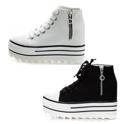 Lace-up Side Zipper Canvas Cap-Toe Stick Platform Sole Sneakers