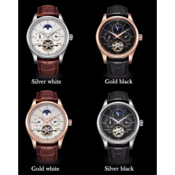 LIGE Luxury Genuine Leather Self-Wind Mechanical Watches Men's Watch Waterproof Relojes