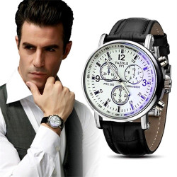 Men's Luxury Fashion Faux Leather Blue Ray Glass Quartz Analog Watches