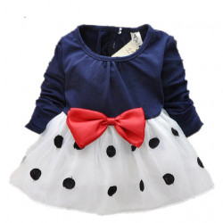 2017 New Cute Baby Girls Dress Cotton And Lace Mini Ball Grown Dresses Kids Clothes For 0-2 Years Baby Bowknot Polk Dot Dress