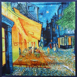 90 cm*90 cm 2017 New Arrival Women Vincent Van Gogh Oil Painting Coffee House Big Size Silk Scarf Women Shawls Girl Wraps New