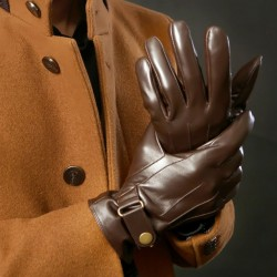 Deluxe Italian Brand Men Leather Gloves Genuine Lambskin Leather Warm Fleece Lined Winter Dress Men Gloves Male Black Brown