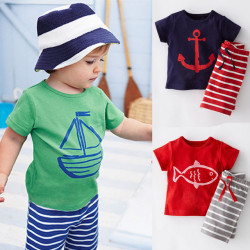 2017 Summer Boys Clothes Sets Kids Clothes Short-Sleeve Cartoon T-Shirt + Striped Pant Boys Clothing Set Cf101