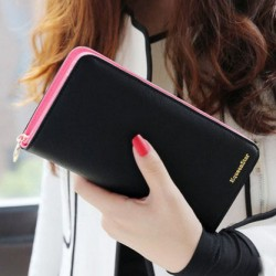 2017 Popular Sale Fashion High Capacity Women Wallets Contrast Color Zipper Clutch Women & #39;S Long Fashionable Design Wallet Purse Free Shipping