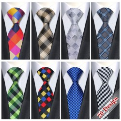 2017 Plaid Classic Tie Silk Necktie For Men 8.5 cm Width Formal Business Wedding Party Free Shipping