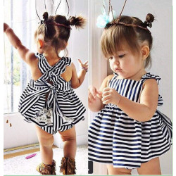 2017 Summer Baby Girls Dress + Briefs 2Pcs Suit Cute Baby Girl Clothes Kids Set Vestido Infant Princess Dresses Free Shipping