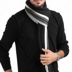 Fashion Fashionable Designer Men Classic Cashmere Scarf Winter Warm Soft Fringe Striped Tassel Shawl Wrap Striped Scarf Men Scarves