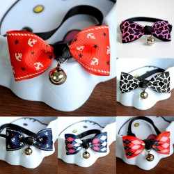 1 Piece Safety Dog Cat Pet Collar Cute Bow Tie Dog Collars With Bell Puppy Kitten Necktie Collar 6 Colors Free Shipping
