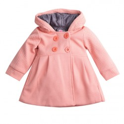 2017 New Baby Toddler Girls Fall Winter Horn Button Hooded Pea Coat Outerwear Jacket Free Shipping