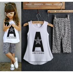 2017 Kids Baby Girls 2Pcs Sleeveless Letter Print Tops +Leopard Half Pant Set Clothes