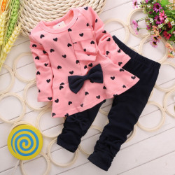 2017 Children Baby Girl Heart-Shaped Bow 2Pcs Clothes Set Suit Top Sweater Pants