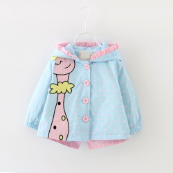(3 Colors) New Spring Kids Girls Coats Clothing 2017 Baby Girls Fashion Cartoon Dots Hooded Trench Coats 6-24 Months !